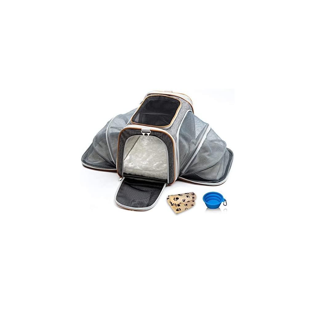 bf2a636d70 PETYELLA Airline Approved Pet Carrier + Fleece Blanket & Bowl - 100 ...