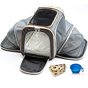 PETYELLA Luxury Pet Carrier + Fleece Blanket & Bowl - Airline Approved Innovative Design - Lightweight Dog & Cat Carrier 20