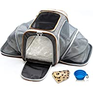 PETYELLA Luxury Pet Carrier + Fleece Blanket & Bowl - Airline Approved Innovative Design - Lightweight Dog & Cat Carrier