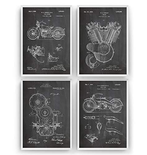 Harley Davidson Patent Prints Art - Set Of 4 - Poster Motorbike Gift Motorcycle Vintage Blueprint Retro Biker Wall Decor - Frame Not Included