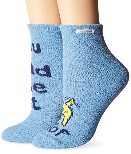 Life is Good Womens Snuggle Slipper Sock Collection,Woof Love,Powder Blue from Life is Good