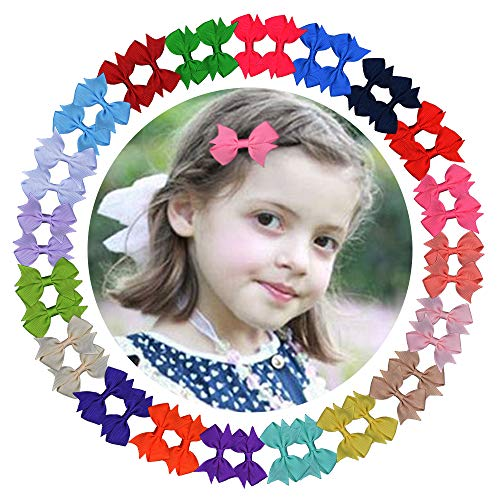 40PCS Pigtail Hair Bows Clips Half Lined Grosgrain Ribbon Covered Clips For Baby Girl Toddler Kids ()