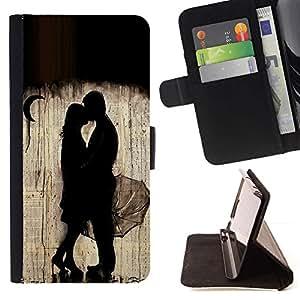 Momo Phone Case / Flip Funda de Cuero Case Cover - Lluvia Luna Pareja profundas de San Valentín - Samsung Galaxy S4 IV I9500