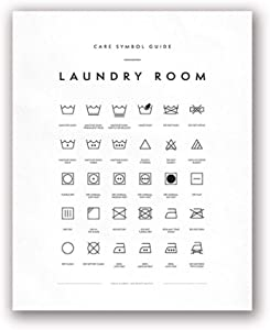 wasticly Wall Art Canvas Posters Laundry Symbols Guide and Prints Laundry Care Painting Picture Laundry Room Decor