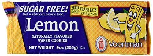 Voortman, Sugar Free, Lemon Wafers, 9oz Bag (Pack of 4) (Lemon Sugar Free Cookies)