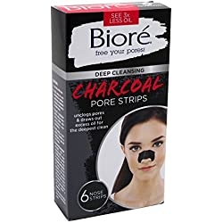 Biore Deep Cleansing Charcoal Pore Strips for Nose, 6 Count