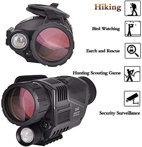 SOLOMARK 5×40 Night Vision Monocular-Infrared IR Camera with Recording Image and Video Function in Complete Darkness-for Hunting and Observing Wildlife Security Surveillance with Battery Included