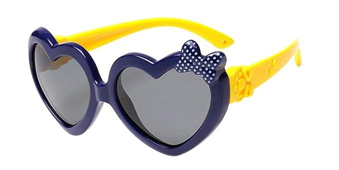 XFentech Unisexo Niños Gafas de Sol para Niños & Niñas Moda Flexible Rubber Forma de Corazón