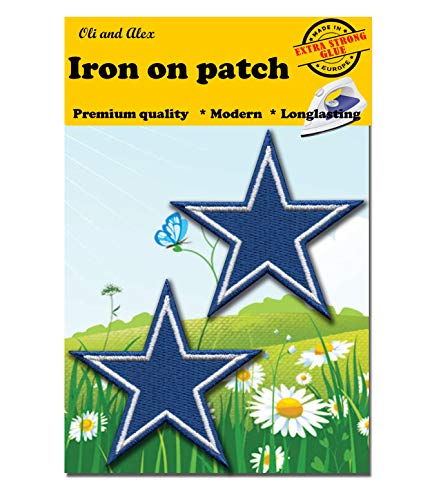 - Iron On Patches - Extra Strong Glue Blue Star Patch 2 pcs Iron On Patch Embroidered Applique Star Logo 3
