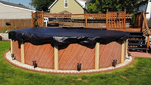 Buffalo Blizzard Deluxe Plus Winter Cover for 24-Foot Round Above-Ground Swimming Pools | Blue/Black Reversible | 4-Foot Additional Material