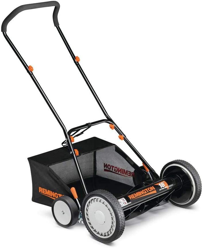 Remington 18 in. Manual Walk Behind Reel Lawn Mower with Attachable Bagger and 9 Position Cutting Heights