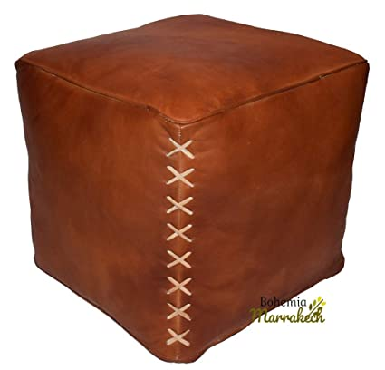 Pouffe,Pouf leather,Hand Made,Moroccan Pouf,Tan,Leather ottoman,footstool,use