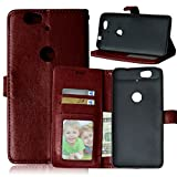 """Huawei Nexus 6P Case, Luxury 3 Credit Card Slots Flip PU Leather Case [Wallet Case] Magnetic Closure With Stand Shell Folio Protection Perfect Fit Cover For Google Huawei Nexus 6P 5.7"""" Brown"""