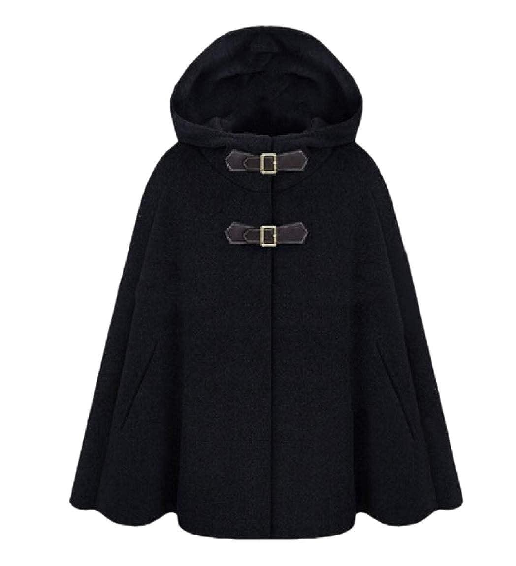 YUNY Womens Classics Wool Blended Stylish Poncho Brumal Duffle Coat Black XL