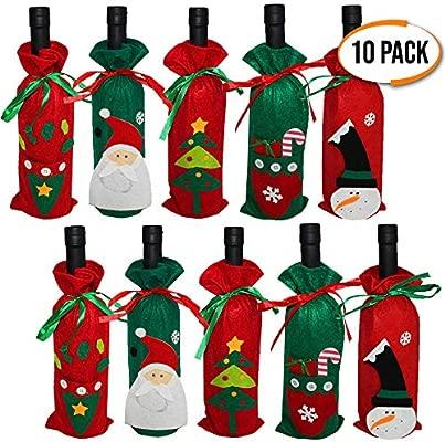 The Twiddlers Paquete de 10 Fundas para Botellas de Vino - 5 Diseños Variados Decorar Tus Botellas en Navidad - Ideal para Fiestas Navideñas