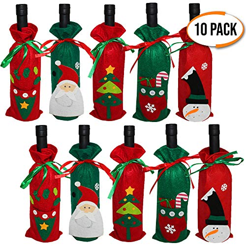 The Twiddlers Pack of 10 Wine Bottle Covers - 5 Different Designs - Ideal for Xmas Gift and Party- Reusable Wine Bags, Champagne Holder - Perfect Decor for Your Christmas Table ()