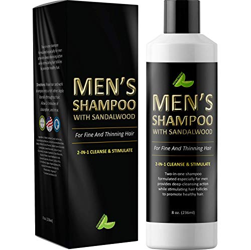 (Men's Shampoo with Sandalwood - 2 in 1 Invigorating Shampoo for Thicker Hair - With East Indian Sandalwood & Argan Oil - Cleanse and Stimulate Hair & Scalp with This Revitalizing Formula )