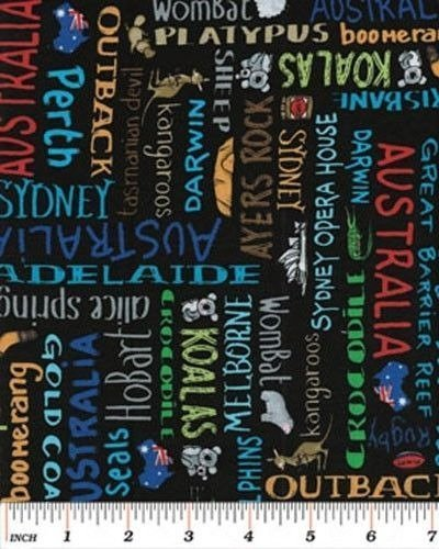 Down Under Australian Names City Provinces Cities Cotton Fabric Print D683.23