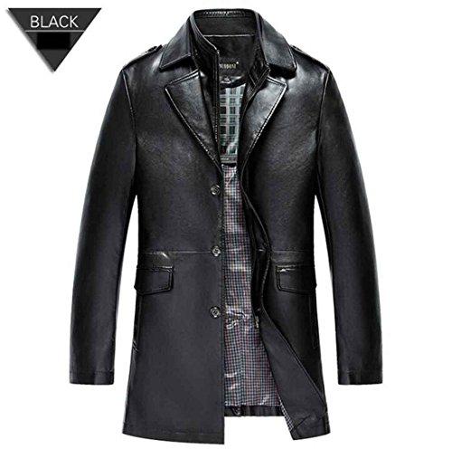 Chaqueta de cuero de los hombres abrigos PU prendas de abrigo hombres negocios invierno de piel sintética chaqueta masculina paño grueso y suave , black , m/170