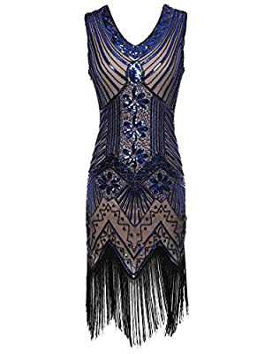 celeblink Women's 1920s Dress V Neck Beaded Sequin Fringed Gatsby Flapper Dress
