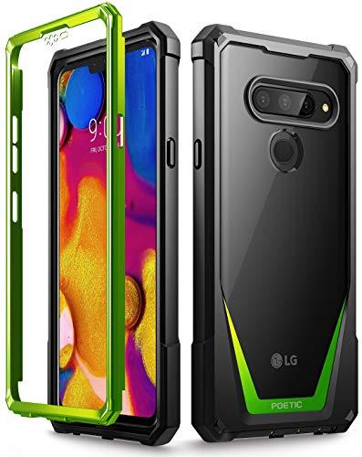 LG V40 Thin Case, LG V40 Case, Poetic Guardian [Scratch Resistant Back] [Built-in-Screen Protector] Full-Body Rugged Clear Hybrid Bumper Case for LG V40 / LG V40 ThinQ (2018) - Green