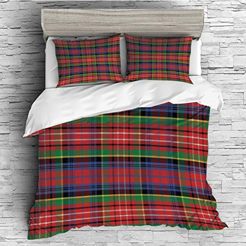 3 Pieces (1 Duvet Cover 2 Pillow Shams)/All Seasons/Home Comforter Bedding Sets Duvet Cover Sets for Adult Kids/Double/Red Plaid,Scottish Traditional Skirt Pattern Tartan Motif Abstract Squares Ornate (Color Pattern Plaid Split)