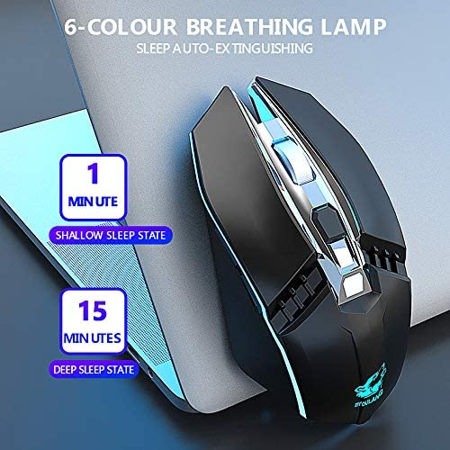 Alician X5 Wireless Gaming Mouse Rechargeable 500mAh Battery Bluetooth 3.0+5.0+2.4G Wireless Optical Mice Adjustable DPI Levels for Laptop PC Mac Black