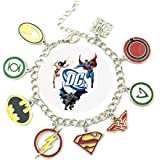 DC Comics SUPER HERO New Logo (9 Themed Charms) Metal/Enamel Charm Bracelet By Superheroes Brand