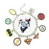 DC Comics SUPER HERO New Logo (9 Themed Charms) Metal/Enamel Charm Bracelet By Superheroes Brand