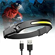 USB Rechargeable Headlamp ,Headlamp with All Perspectives Induction 230° Illumination,5 Modes and IPX4 Waterpr