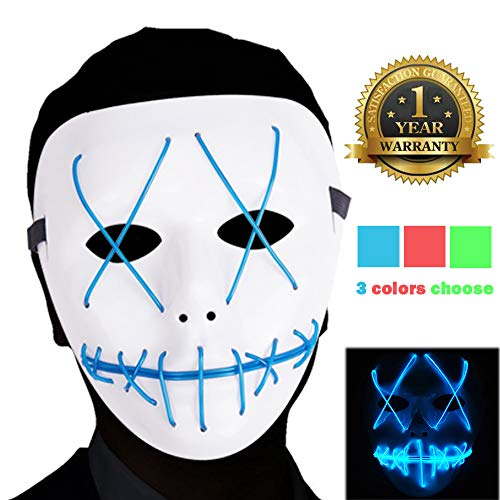 Ansee Scary Mask Halloween Cosplay Led Costume Mask El Wire Light Up Mask for Festival Parties (Purge Mask Blue) -