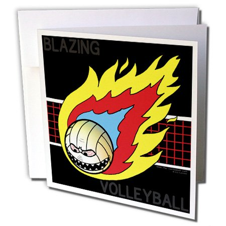 (3dRose Blazing Angry Volleyball Crossing the Net - Greeting Cards, 6 x 6 inches, set of 12 (gc_5290_2))