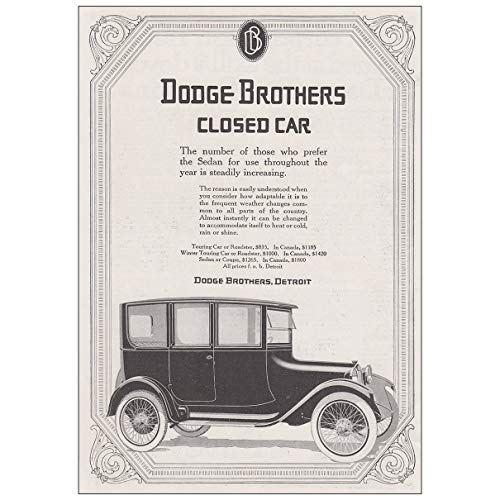RelicPaper 1917 Dodge Brothers Closed Car: Those Who Prefer The Sedan, Dodge Print - Dodge Car Brothers