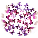 Creative Small Bathroom Storage Ideas FLY SPRAY 24pcs Vivid Purple Butterfly Mural Decor Removable Wall Stickers with Adhesive Decals Nursery Decoration 3D Crafts