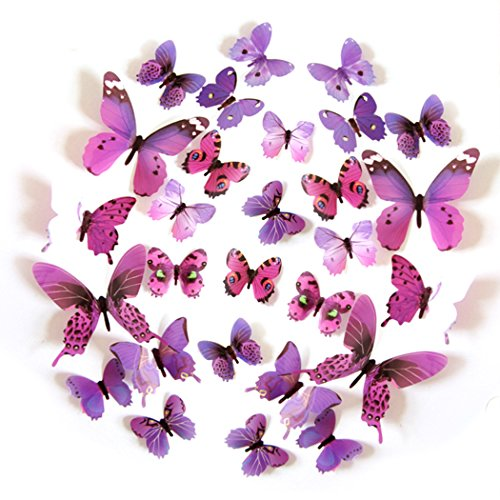 FLY SPRAY 24pcs Vivid Purple Butterfly Mural Decor Removable Wall Stickers with Adhesive Decals Nursery Decoration 3D (Homemade Halloween Decorations Easy To Make)