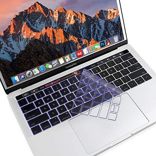 MOSISO Premium Ultra Thin TPU Keyboard Cover Compatible Newest MacBook Pro with Touch Bar 13 Inch and 15 Inch (A1989 / A1706, A1990 / A1707) 2018 2016 2017 Release Transparent Skin, Ultra Violet