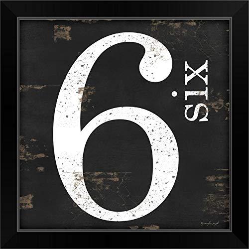 "CANVAS ON DEMAND Farmhouse Six 6"" Black Framed Art Print, 19""x19""x1"""
