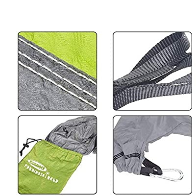 Forbidden Road Swing Camping Hammock 210D Nylon with Straps (Green/Grey, Single): Sports & Outdoors