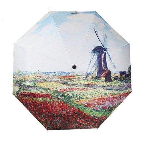 TianQi Dutch Windmill Oil Painting Art Umbrella For Sun/Rain,UPF 40+,3 Folding