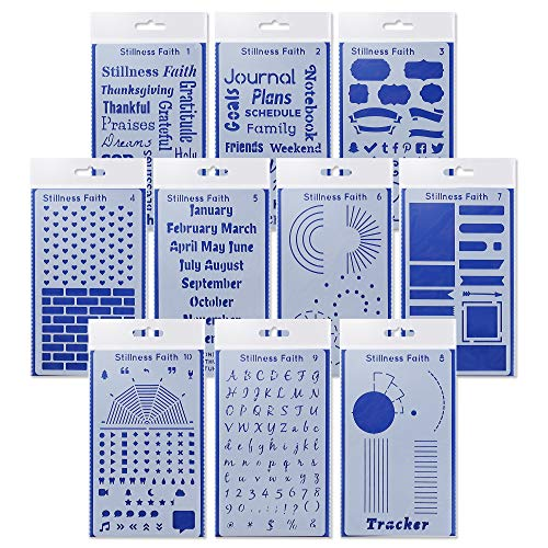 Bullet Journal Stencil Set of 10 Stencils for Your Bible Journaling Supplies Budget Planner and Bullet Journaling Bendy Letter Stencils Bullet Journal Supplies for Journals