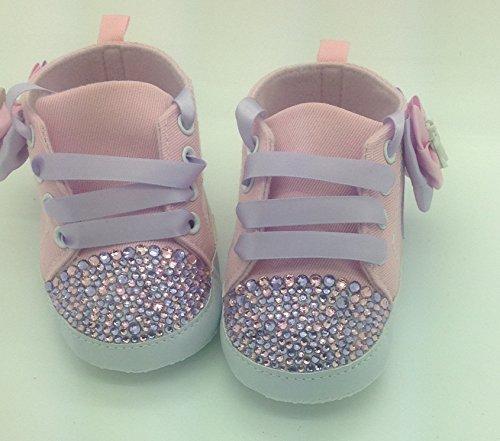 Personalizado Bebé niña rosa unicornio 9/12Meses. Cuna Cochecito de bebé zapatos Crystal Bling Rhinestone Diamantes de Campanilla Bling tamaño 6/9Meses. Primera Walker.