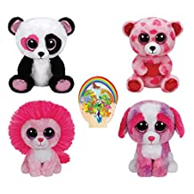 Ty Beanie Boos Valentine - FLUFFY Pink Lion, MANDY Panda, SHERBET dog, SWEETIKINS Bear with Heart set of 4 and Animals Sticker