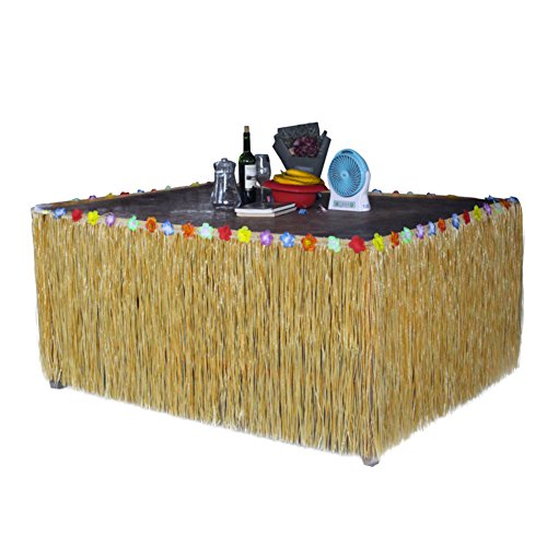 Homedeco Hawaiian Grass Table Skirt Luau Hibiscus Green String & Colorful Silk Faux Tropical Flowers Birthday Party -