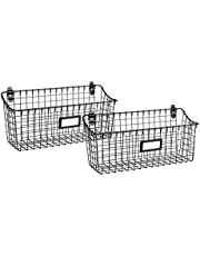 Wall Mounted Basket – Set of 2 Wire Storage Baskets – Multipurpose Wire Hanging Basket – Vintage Wall Basket Décor – Cabinet and Pantry Organizer – Large Metal Basket