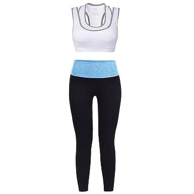 b3581a1f7987 VBIGER Soutien Gorge Sport Yoga Pantalons Gym Tenues pour Femme - Blanc -  Taille Small