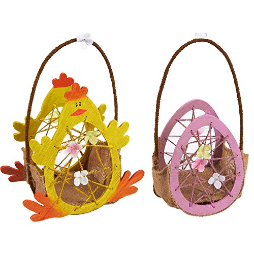 Easter Egg Baskets – 2-Count Mini Gathering Baskets for Easter Holiday Egg Collecting, Chicken and Egg Design Foldable Baskets, Easter Gifts For Kids with Wire Handle, Yellow and Pink