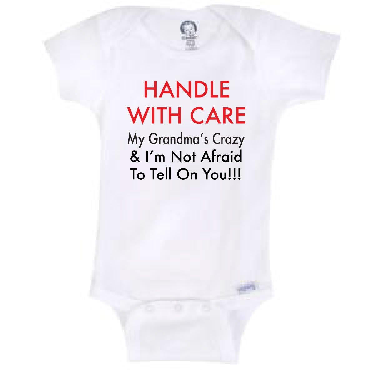 d529eb22993ed BLAKENREAG Handle with Care My Grandma's Crazy Funny Baby Onesie Gerber  Novelty Shirt