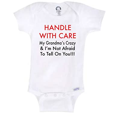 0e556a742 BLAKENREAG Handle with Care My Grandma's Crazy Onesie Baby Boy (0-3 Month)