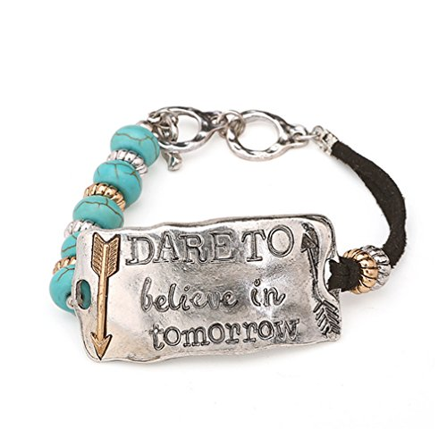 G&T European New Gift Creative Alloy Leather Rope Buckle Turquoise Bracelet