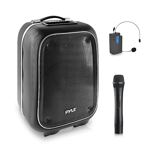 - Wireless Portable PA Speaker System - 400 W Battery Powered Rechargeable Sound Stereo Speaker and Microphone Set with Bluetooth MP3 USB Micro SD FM Radio AUX - For Outdoor DJ Party - Pyle PWMA825BT